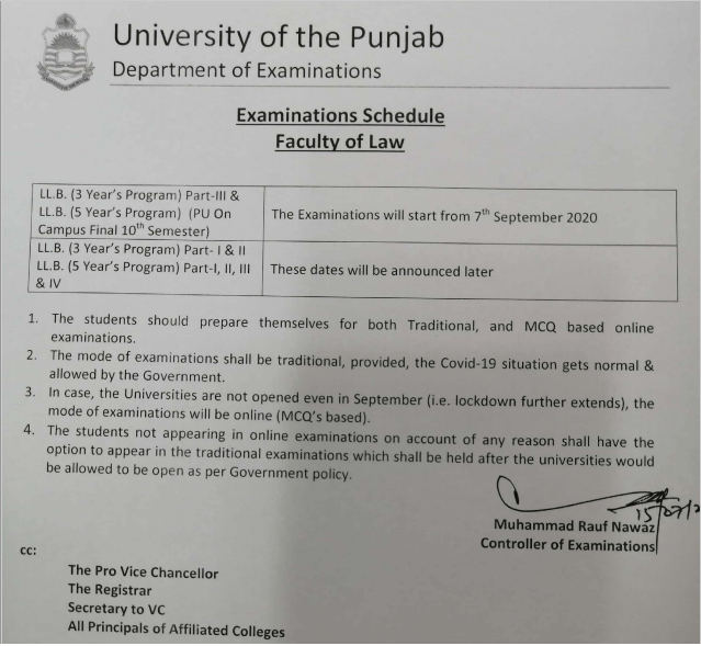 Faculty of Law Exams 2020 PU