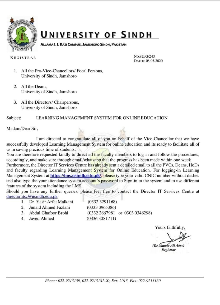 Learning Management System for Online Education University of Sindh