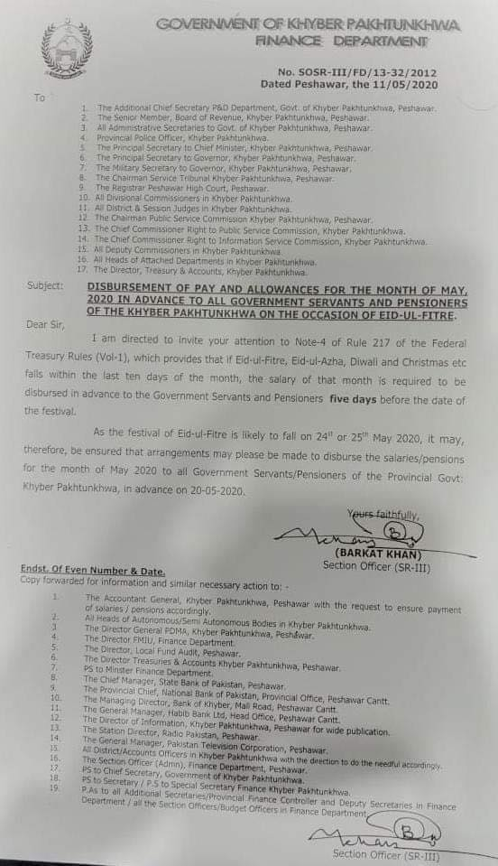 Advance Salary on 20th May 2020 KPK