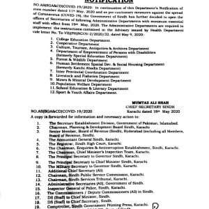 Notification of Opening Further Offices by Sindh Govt