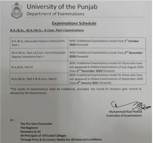 Punjab University Exams Schedule 2020