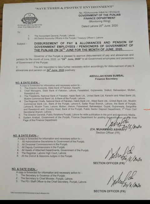 Advance Pay & Allowances and Pension June 2020 on 24-06-2020