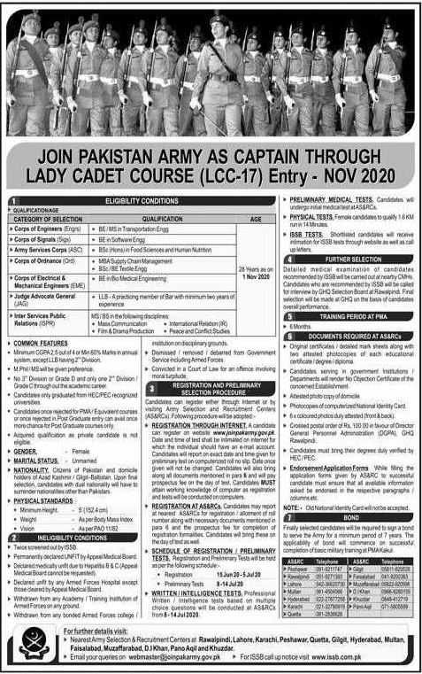 Join Pak Army as Captain Entry Nov 2020