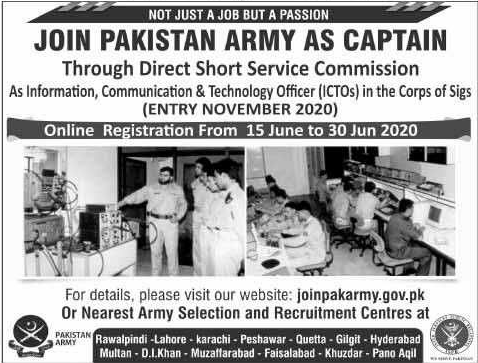 Join Pakistan Army as Captain June 2020