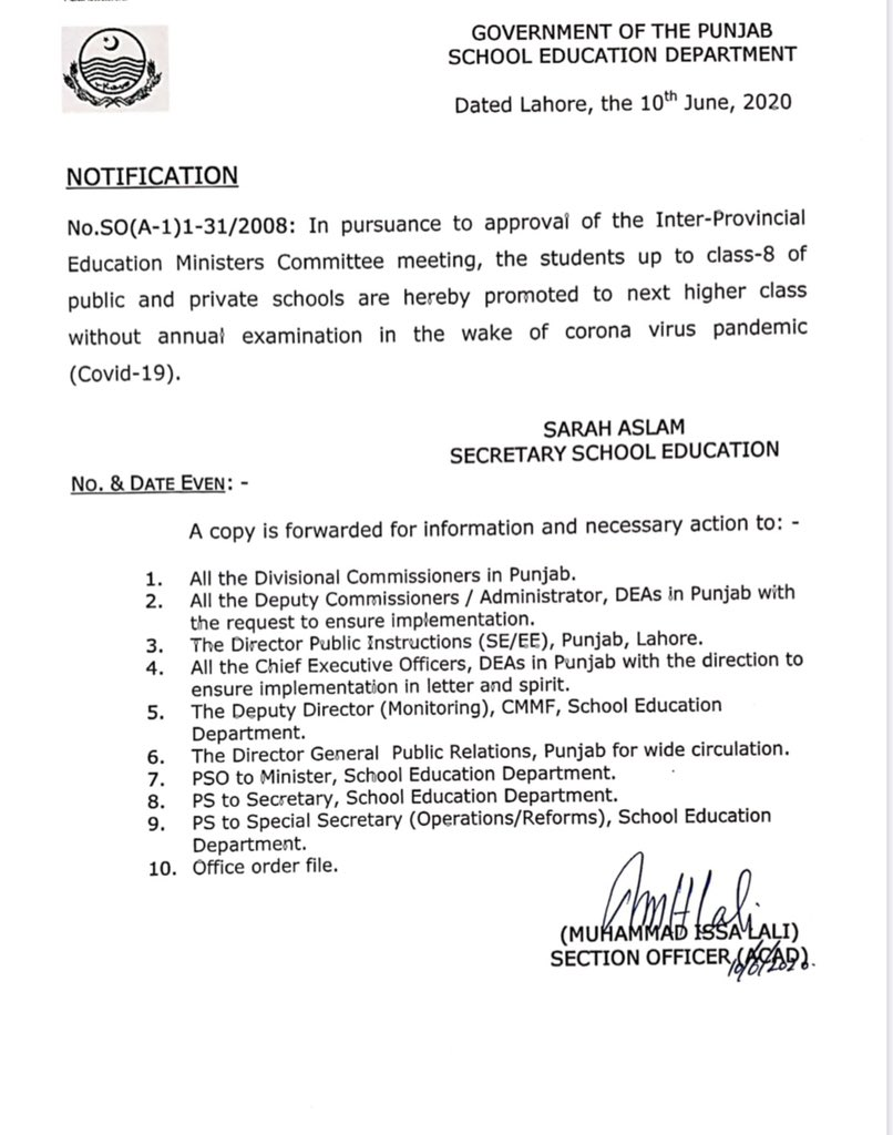 Promotion Students Class I to VIII in Punjab Schools