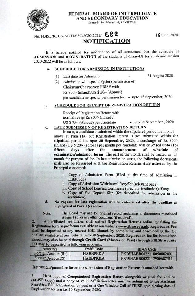 Schedule of Admission and Registration 2020-2022 Class IX FBISE