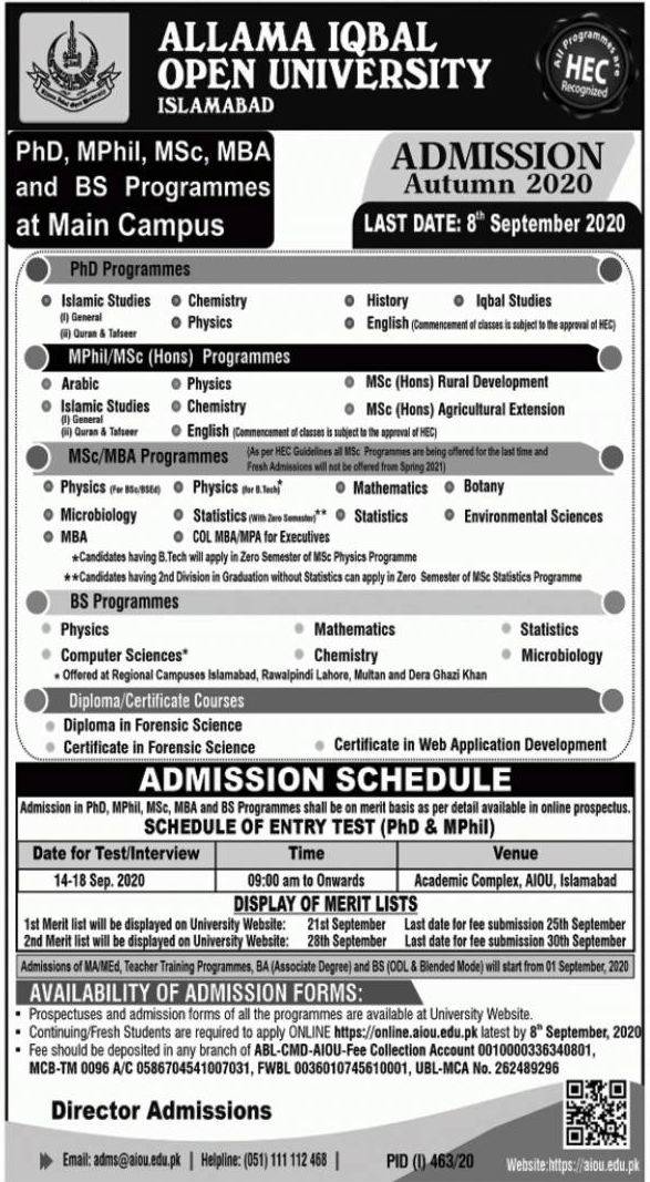 AIOU Admission Open Autumn 2020