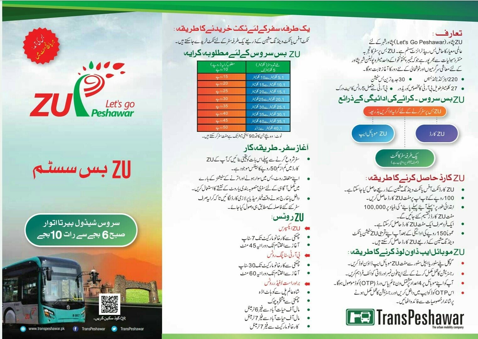 Bus Rapid Transit (BRT) Peshawar (Fare, ZU Card, Ticket