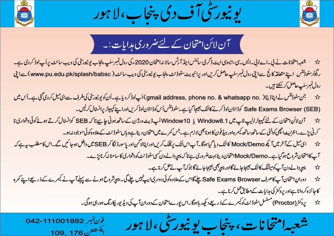 Important Instructions for Online Annual Examinations 2020 the University of the Punjab