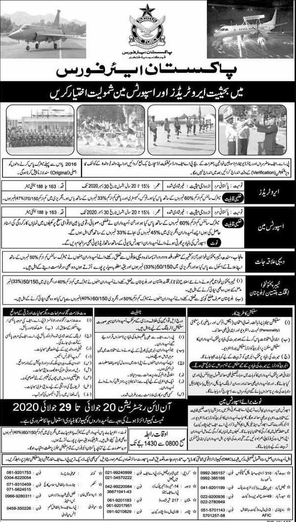 Jobs in Pakistan Air Force as Aero Trader and Sportsman 2020