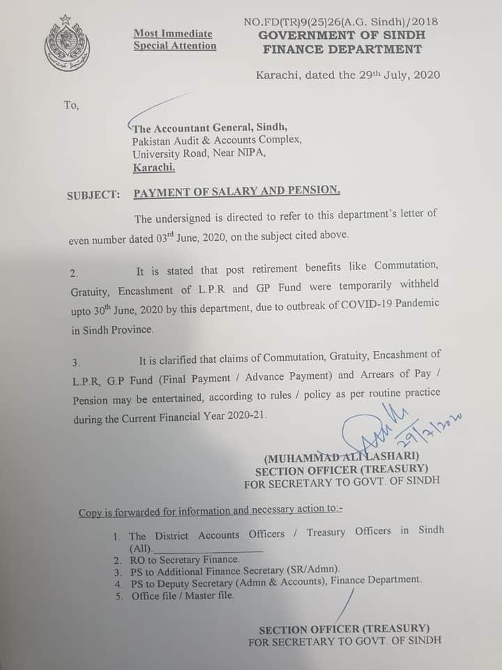Notification Payment of Salary, Pension, Gratuity, Commute, GP Fund & Arrears Sindh