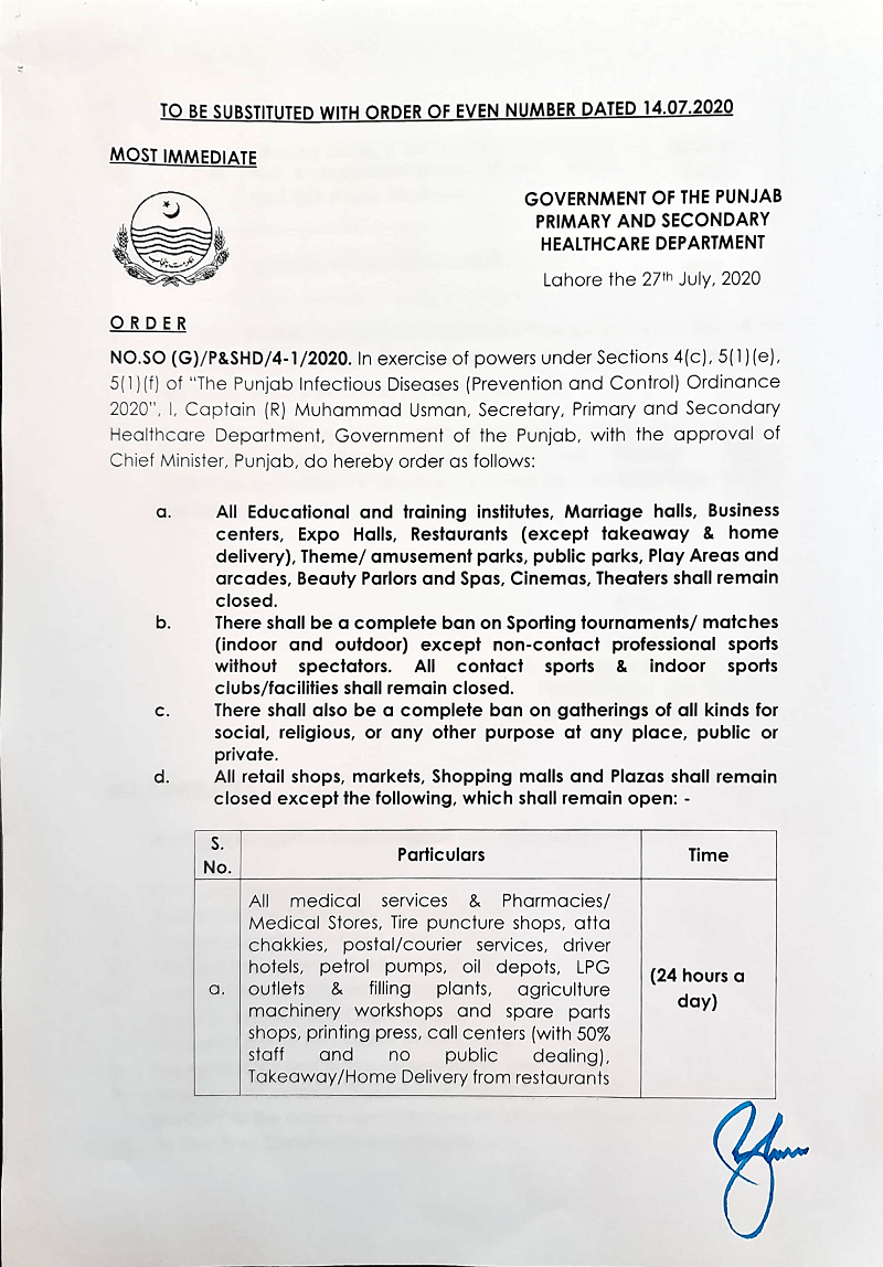 Notification of Lock Down in Punjab wef 28-07-2020 to 05-08-2020
