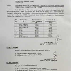 Notification of Revision Utility Allowance to District Judiciary Punjab