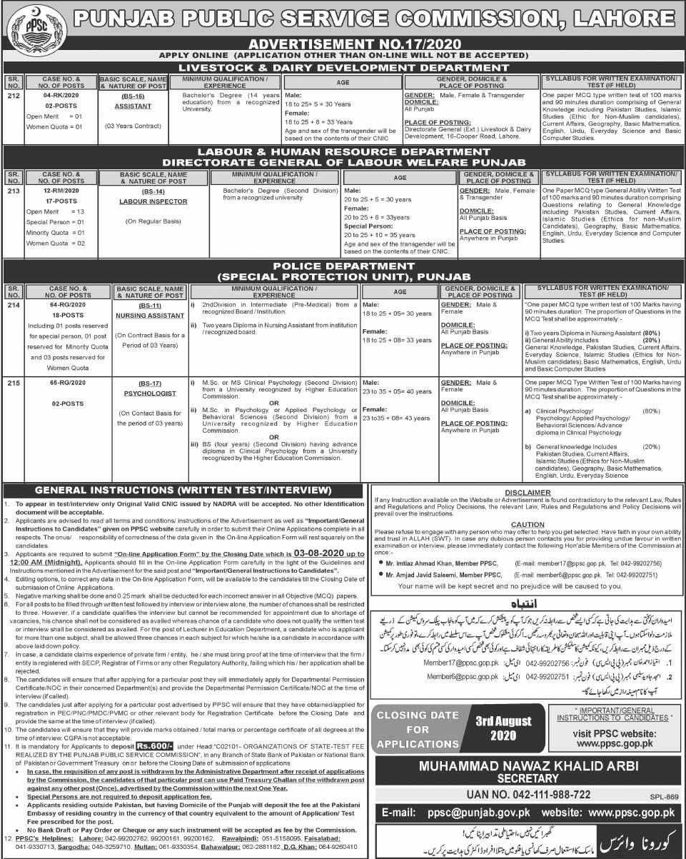 Punjab Police Nursing Assistants Jobs 2020