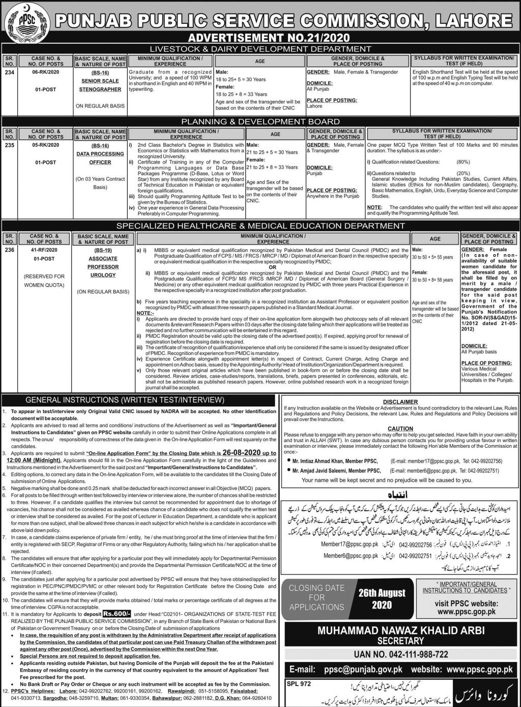 Latest PPSC Jobs Advertisement 21 of 2020