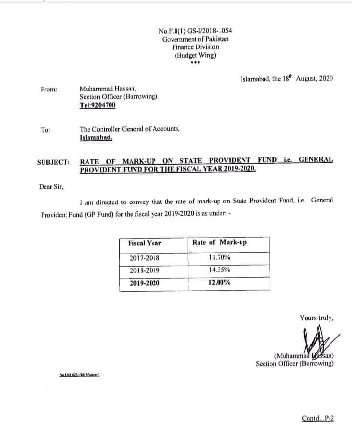 Notification of New GP Fund Interest Rates 2019-20 (Rates of Mark-Up)