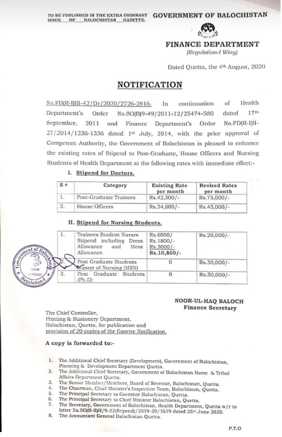 Notification of Revised Stipend for Doctors and Nursing Students Balochistan