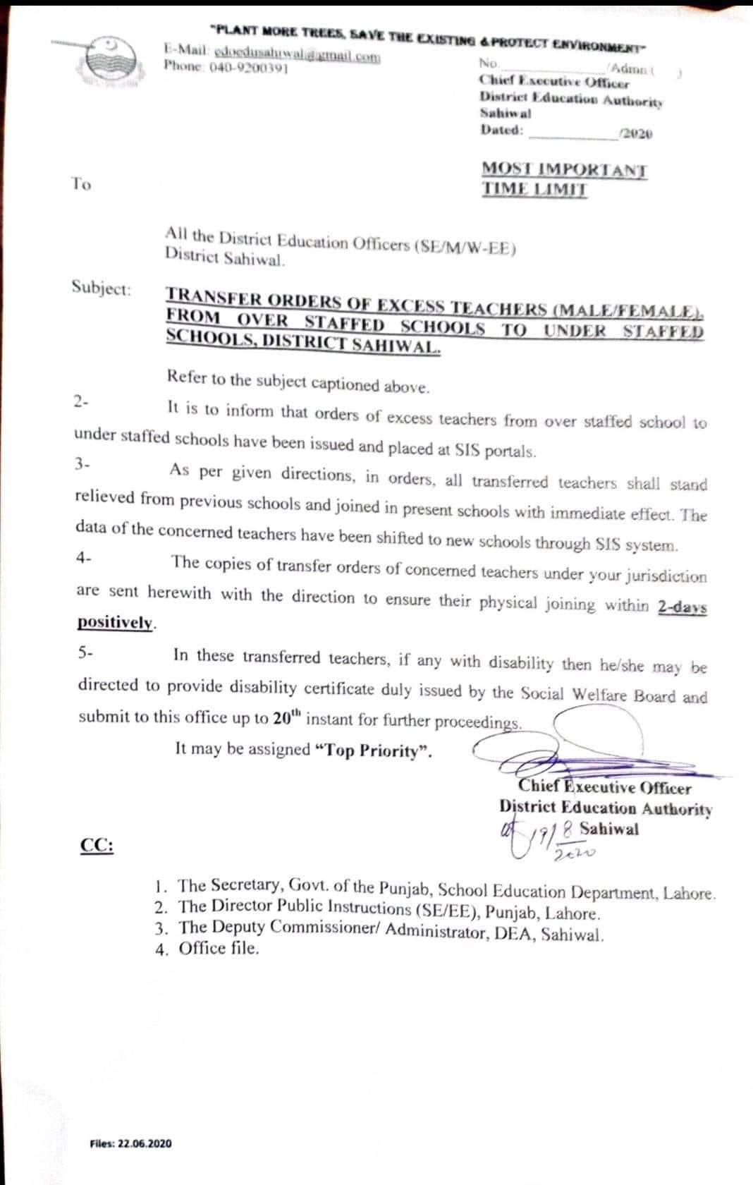 Transfer Orders of Excess Teachers (MaleFemale) From Over Staffed Schools to Under Staffed Schools