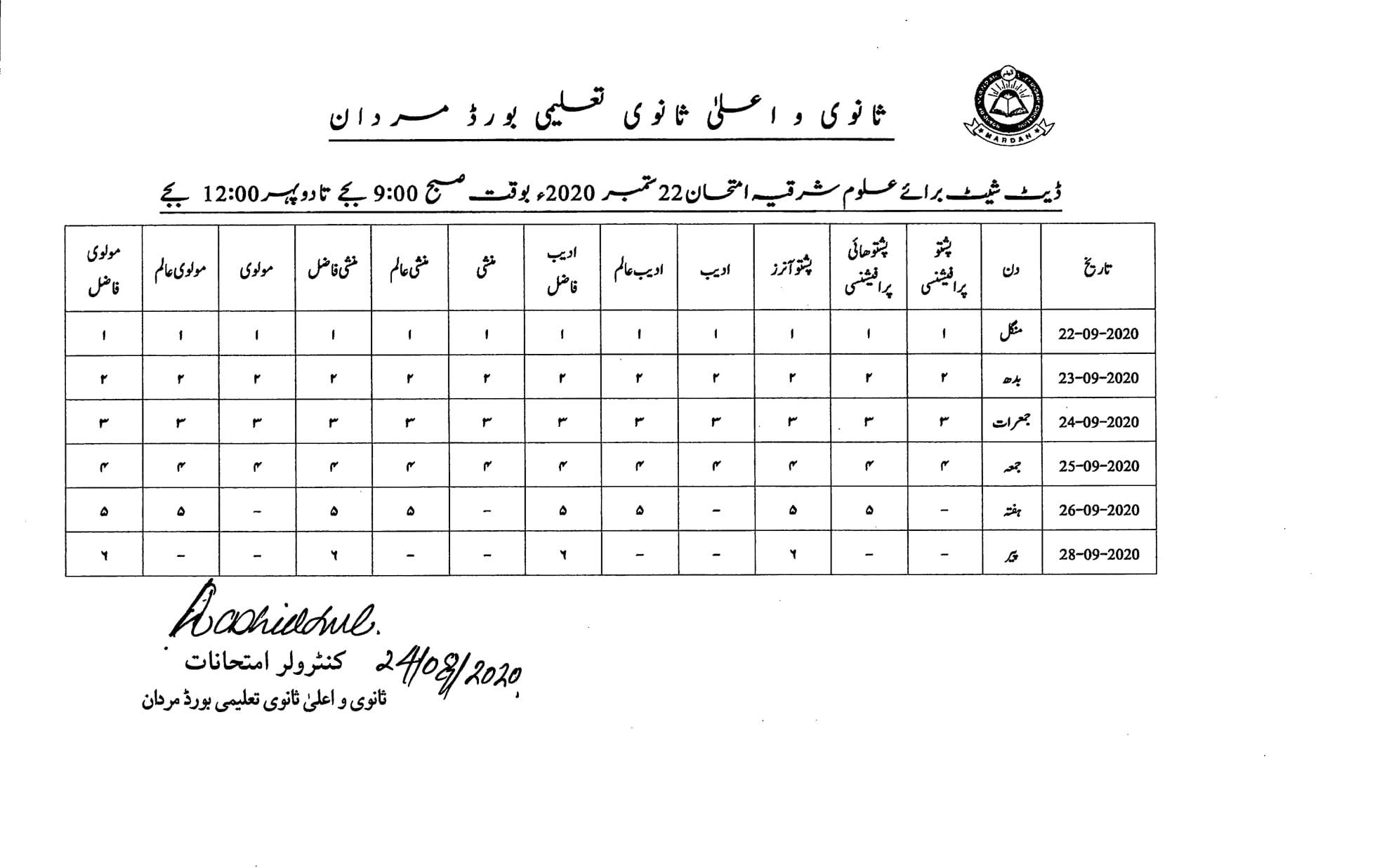 BISE Mardan Date Sheet Special Annual Exam Alaamia