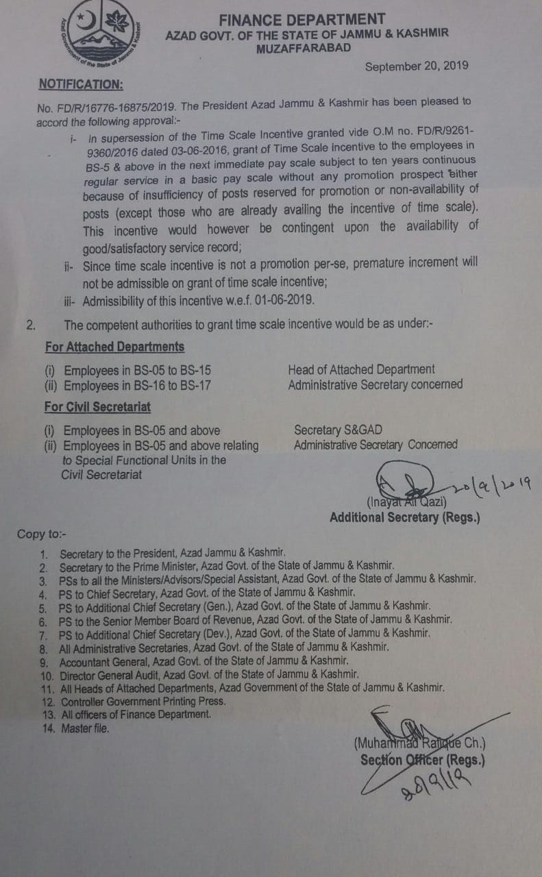 Grant of Time Scale Incentive to the Employees of BPS-05 & Above AJK