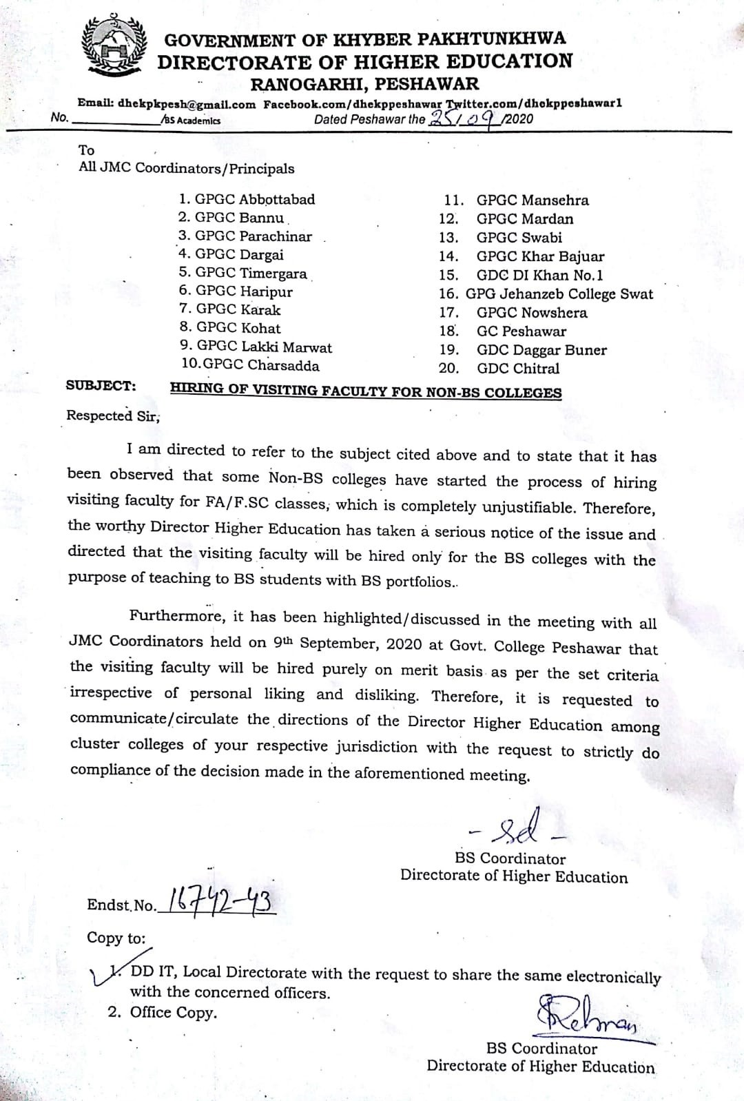 Hiring of Visiting Faculty for Non-BS Colleges KP