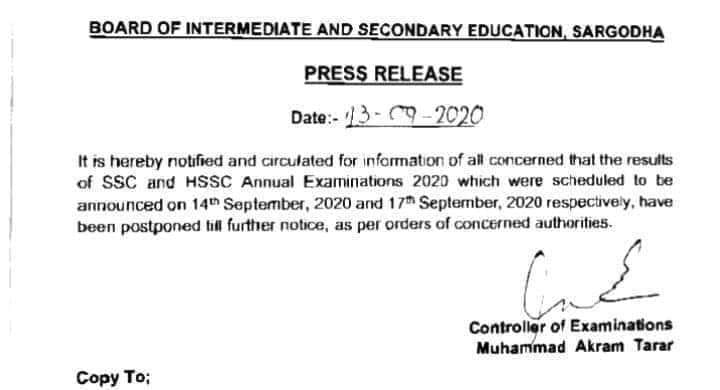 Latest Updates of Result SSC and HSSC 2020