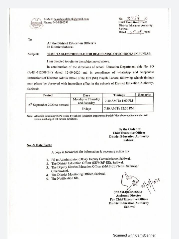 Notification of AmendedRevised School Timings in Punjab on Friday