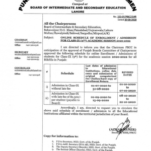 Online Schedule of Enrollment/Admission in 9th Class for Session 2020-22
