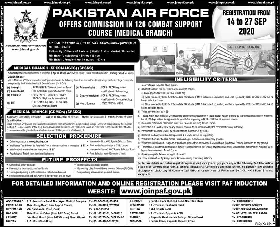 PAF Commission in 126 Combat Support Course (Medical Branch)