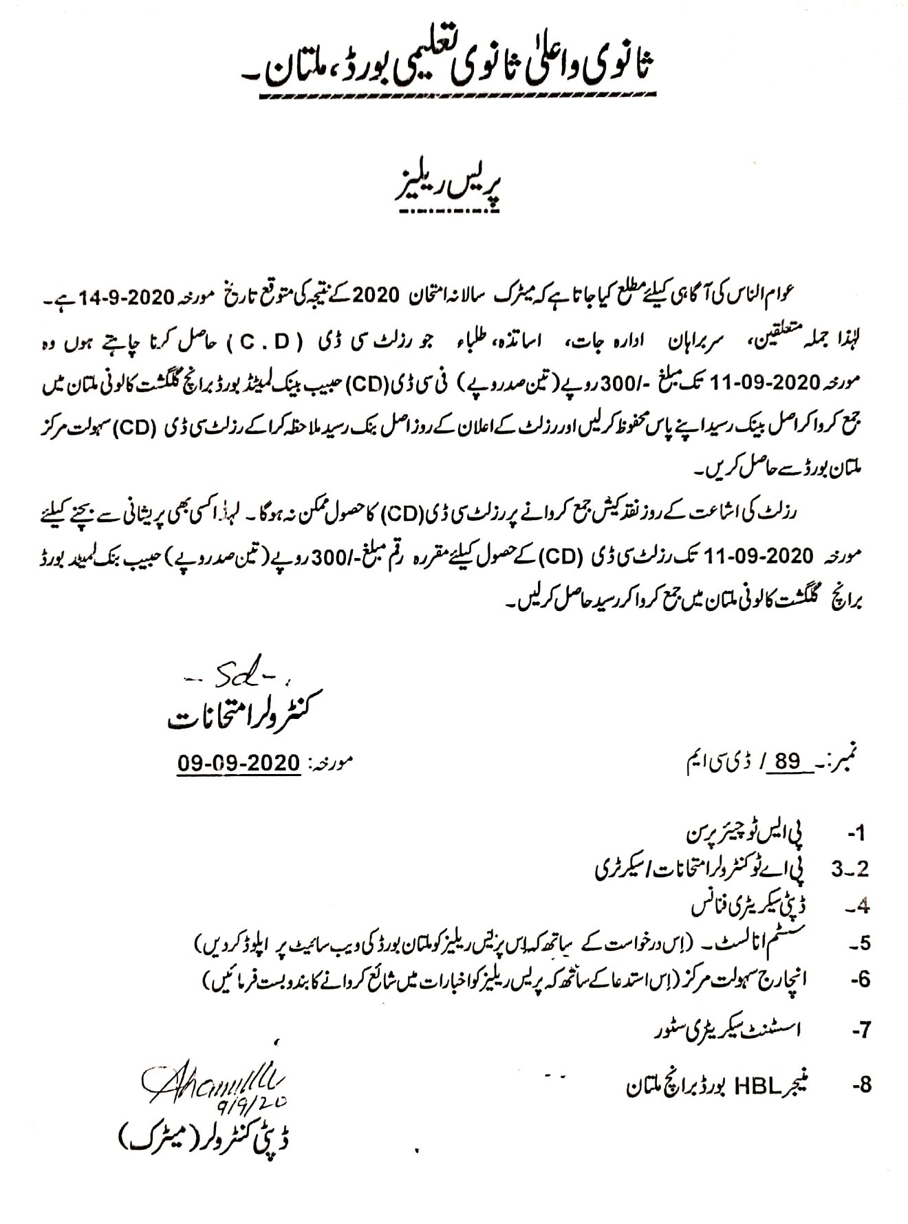 Result BISE Multan SSC Annual Exam 2020