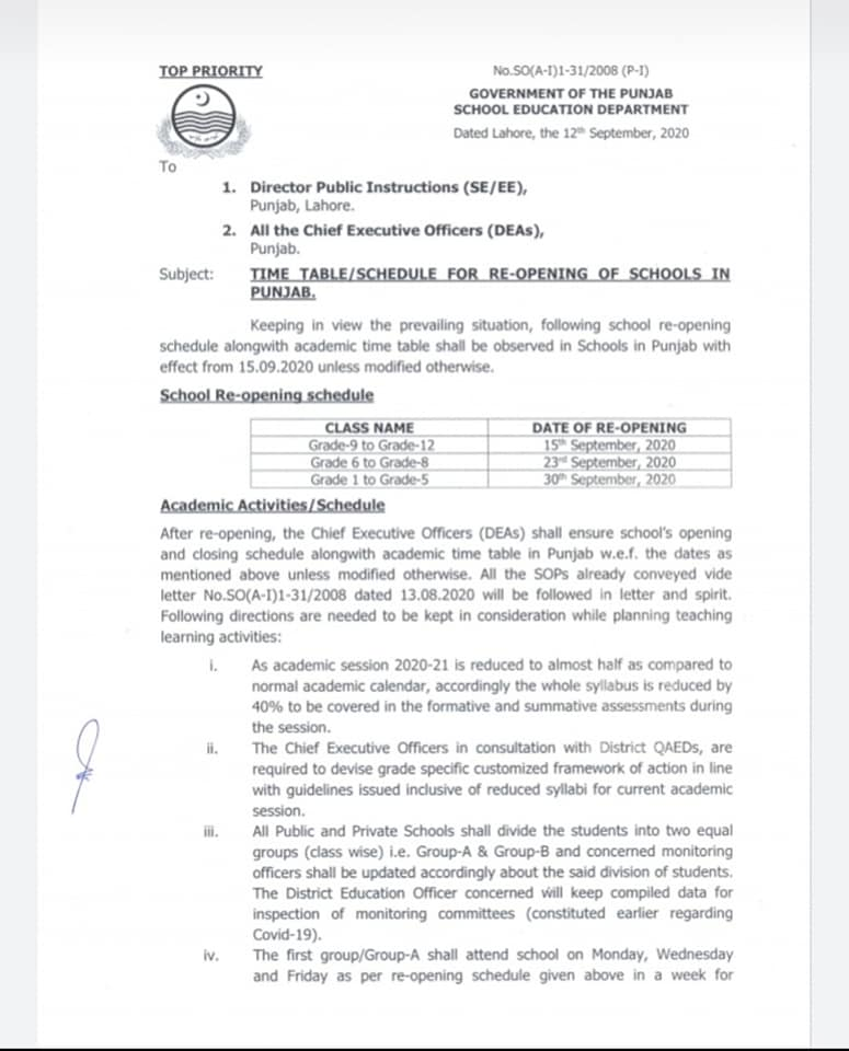 Time Table Schedule for Re-Opening of Schools in Punjab