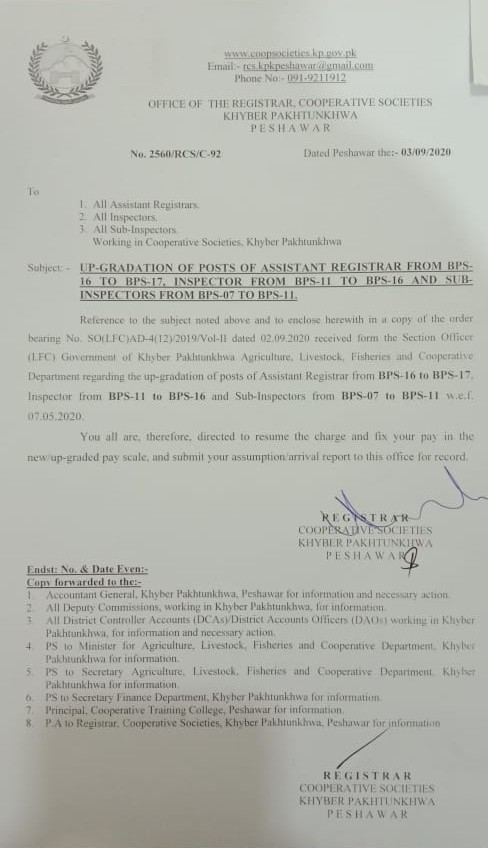 Upgradation of the Post of Inspector KPK