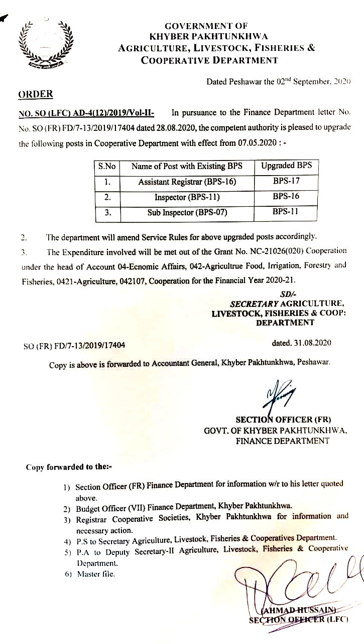 Upgradation of the Posts of Assistant Rehistrar, Inspector and SI KPK