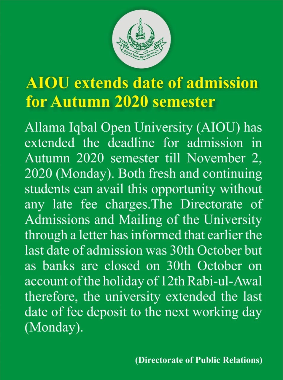 AIOU Extends date of admission for autumn 2020 semester