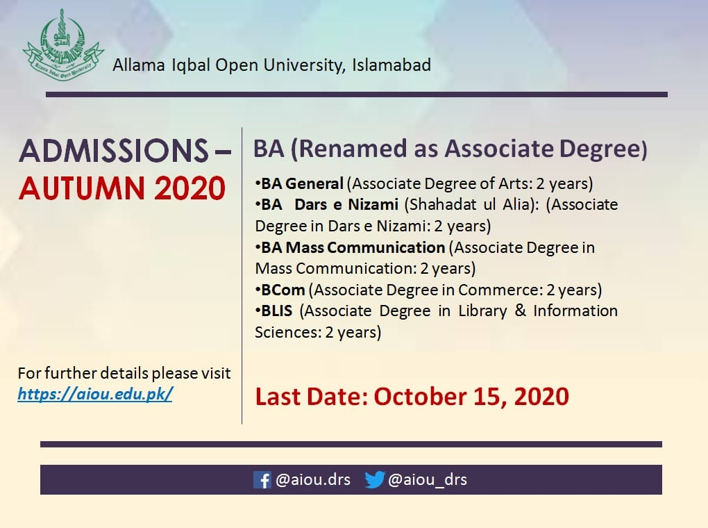 AIOU Islamabad Admission Autumn 2020 in BS (Associate Degree)