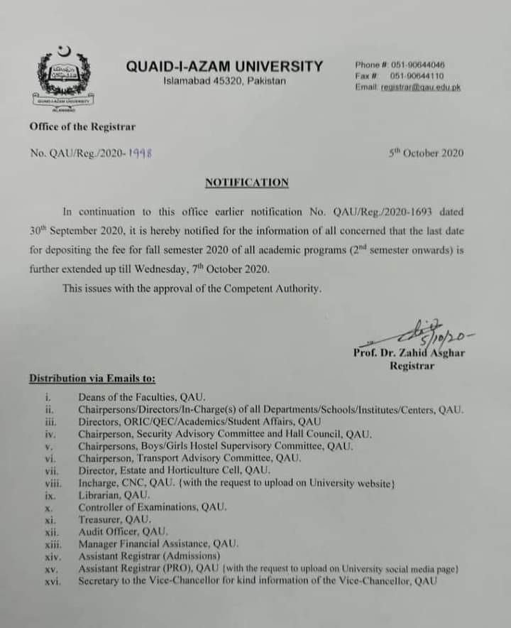 Further Extension of Date of Depositing of Fee of Quaid-e-Azam University