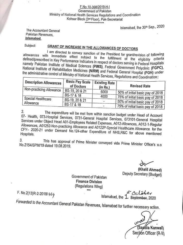 Grant of Grant of Increase in the Allowances of Doctors 2020