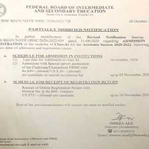 Further Revised Schedule of Registration 2020-22 Class XI Federal Board