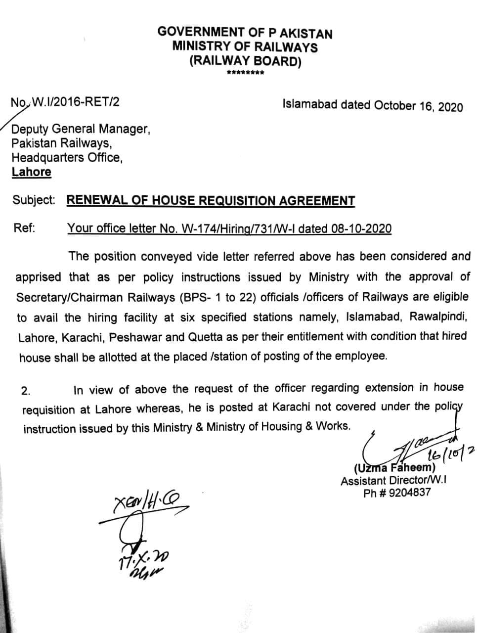 Renewal of House Requisition Agreement