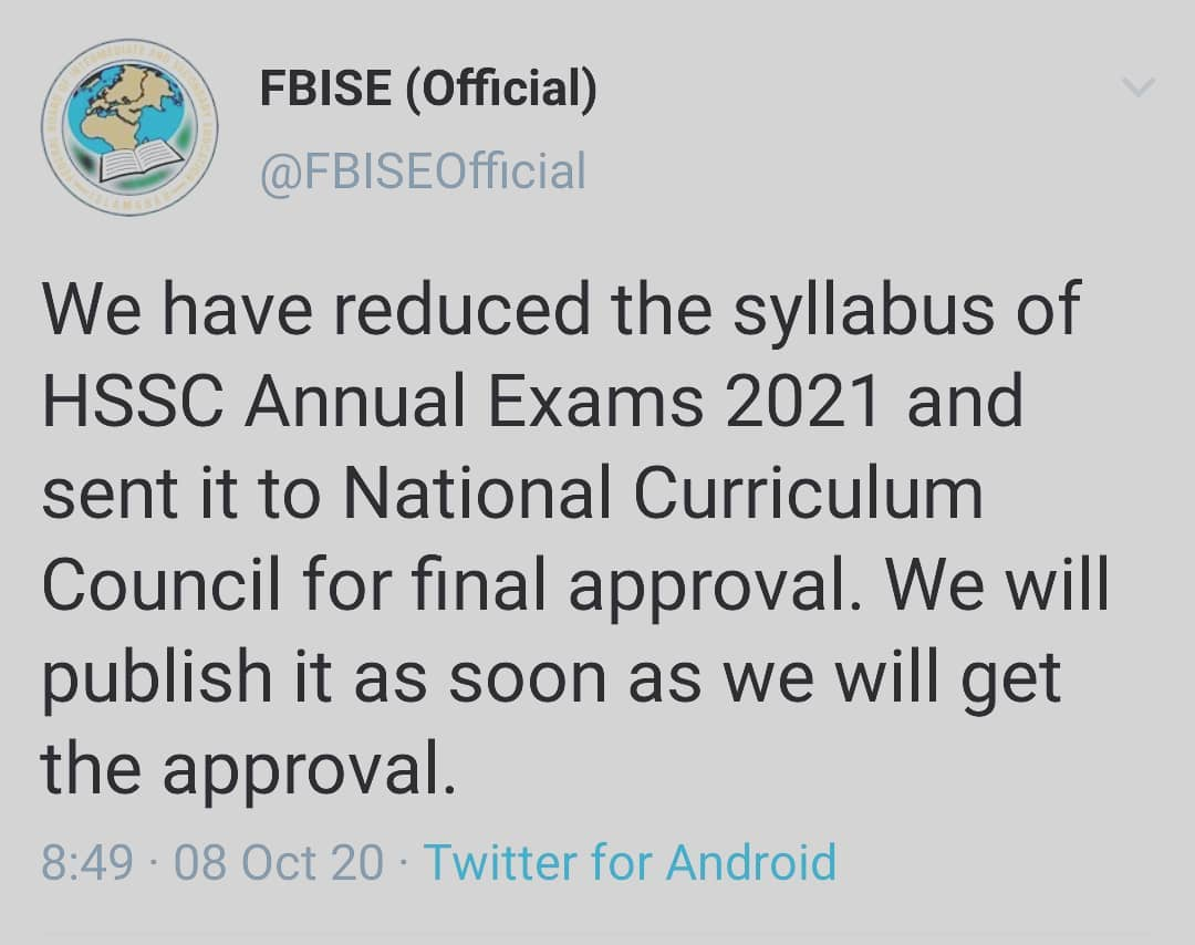 Revised and Short Syllabus HSSC FBISE Islamabad