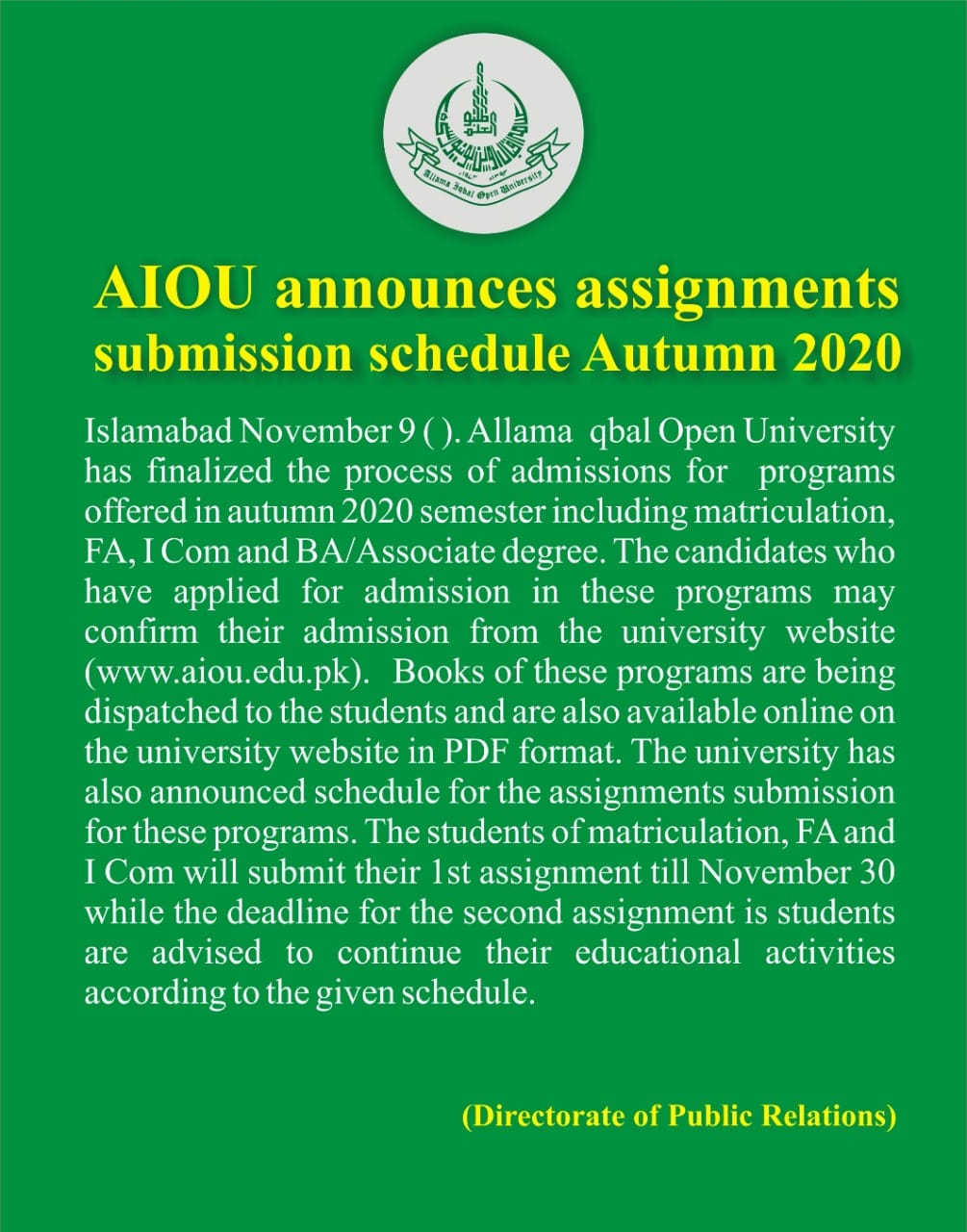AIOU Islamabad Assignments Submission Schedule Autumn 2020