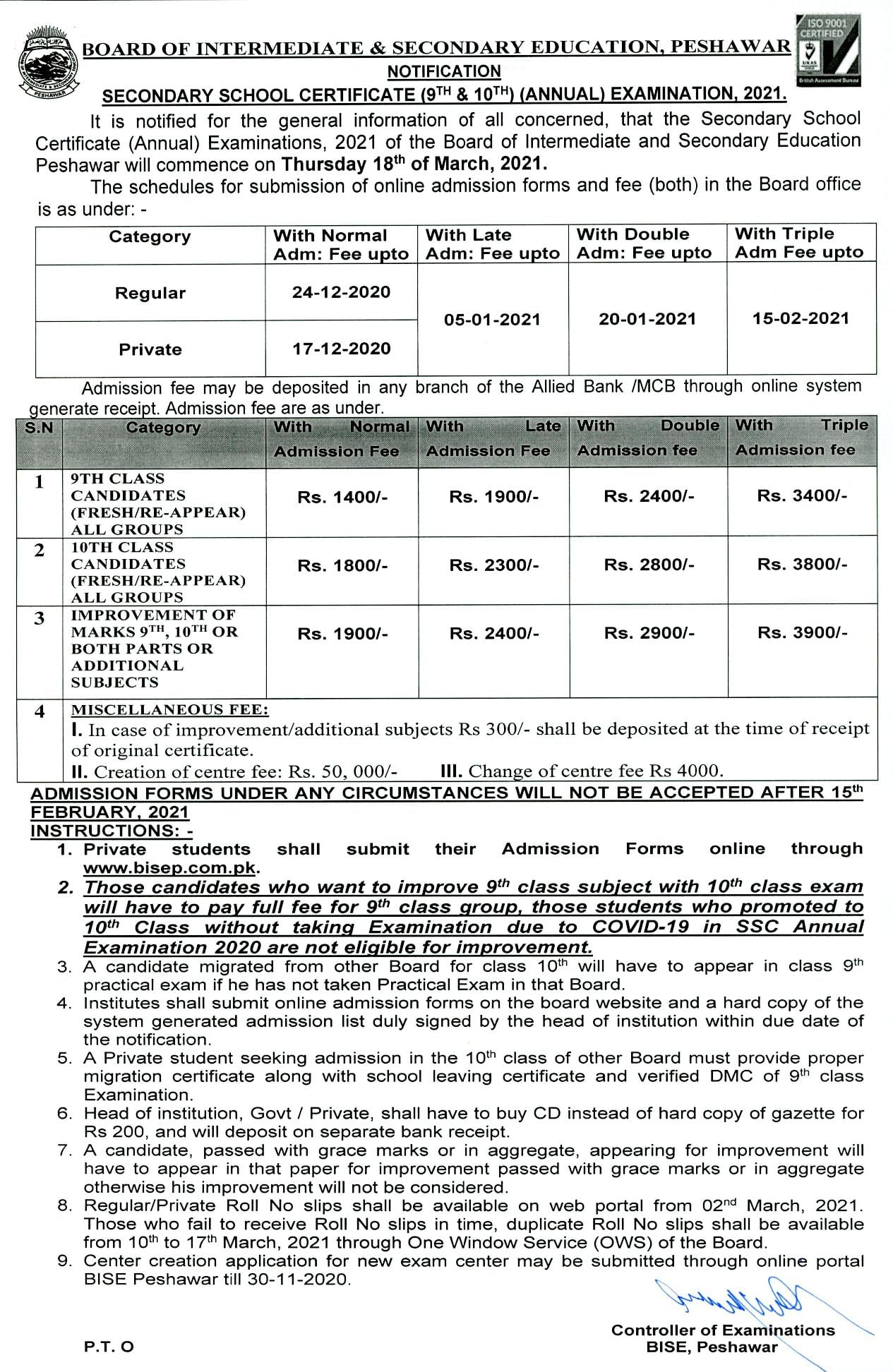 BISE Peshawar Online Submission of Admission Forms SSC Annual Exams 2021