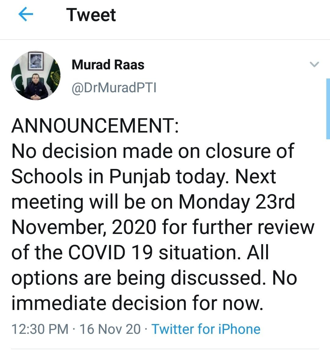 No Decision of Holidays in Schools Decision on 16-1-2020