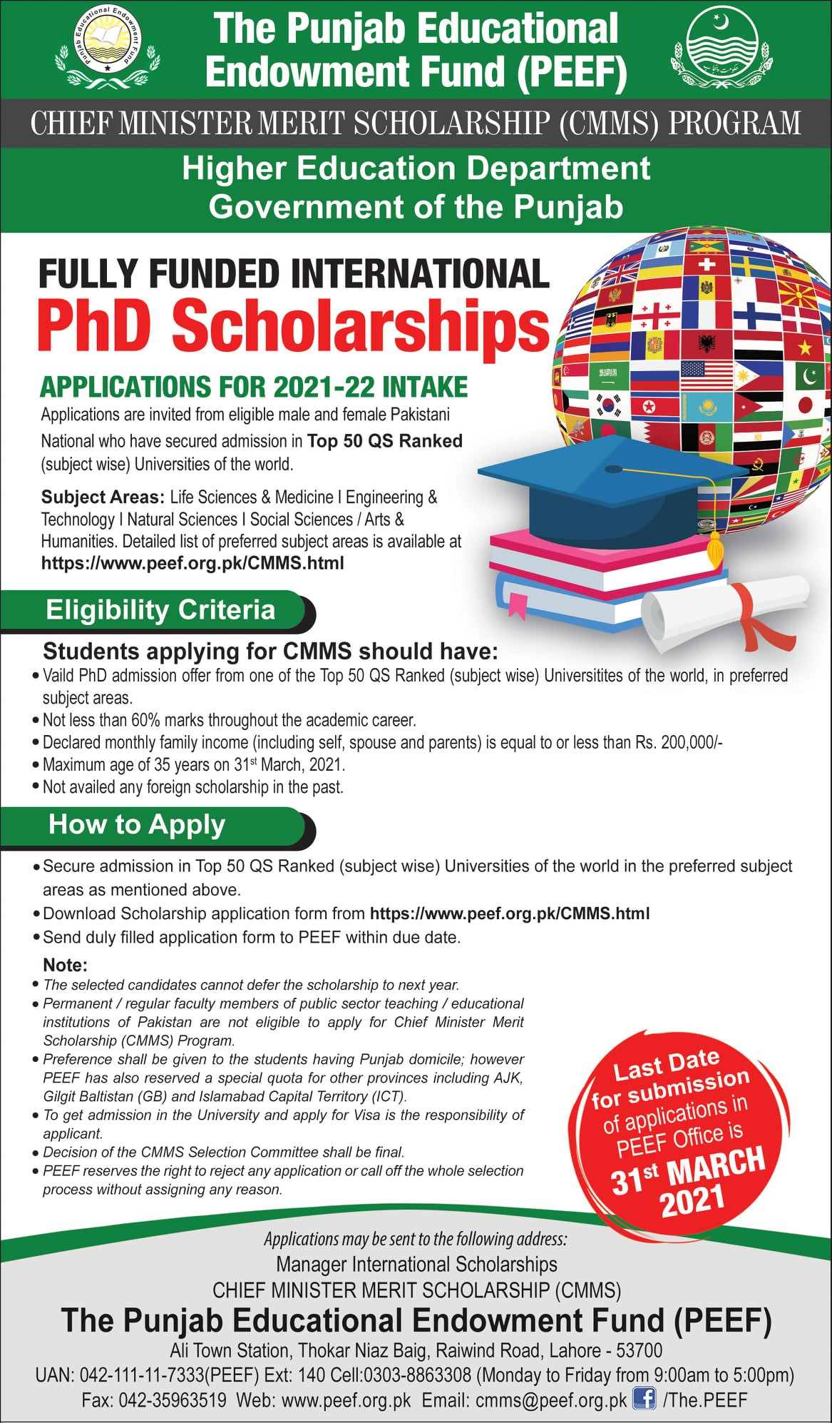PEEF Fully Funded International Ph.D Scholarships 2021-22