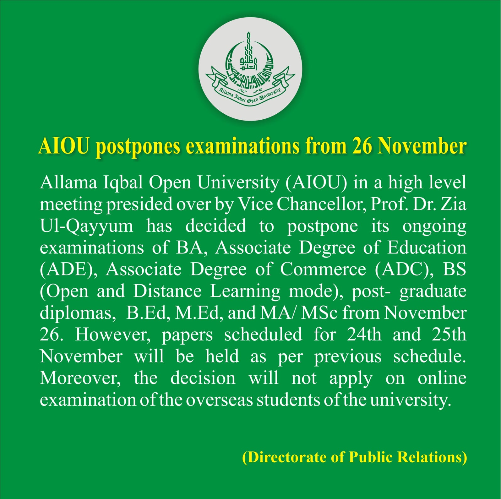 Postponing All Examination across the Country By AIOU Islamabad