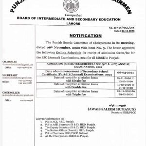 Schedule of HSSC & SSC Annual Examination 2021 All Punjab Boards