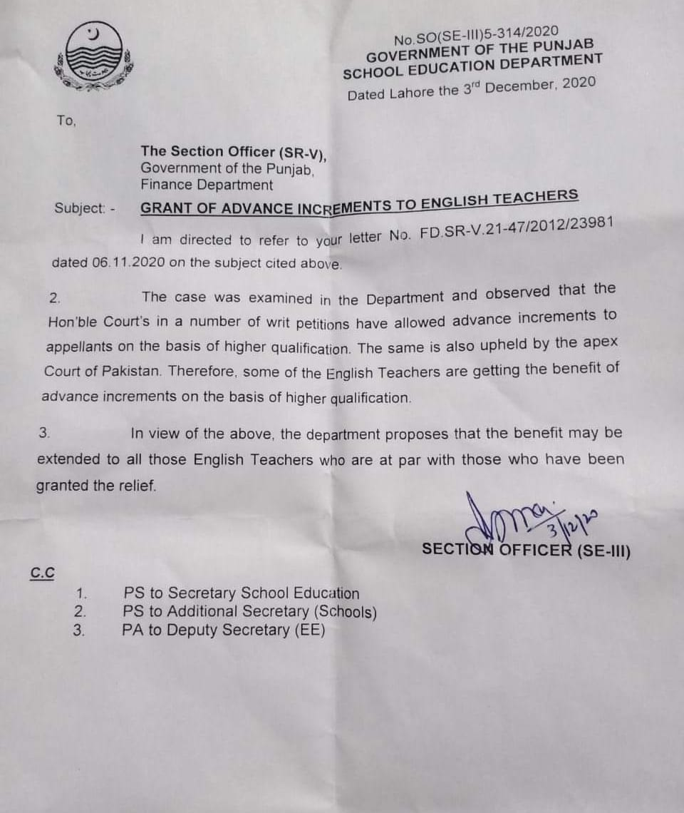 Advance Increments of Higher Qualification and English Teachers of Punjab
