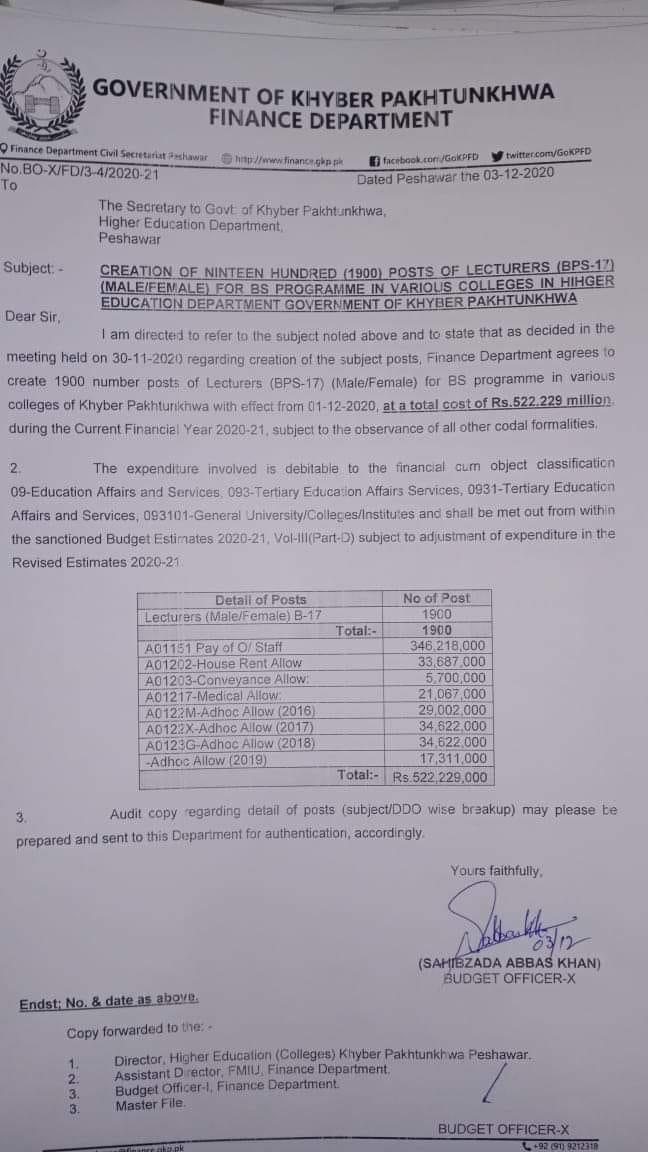 Creation of 1900 Posts of Lecturers (Males Females) for BS Program in KPK Colleges