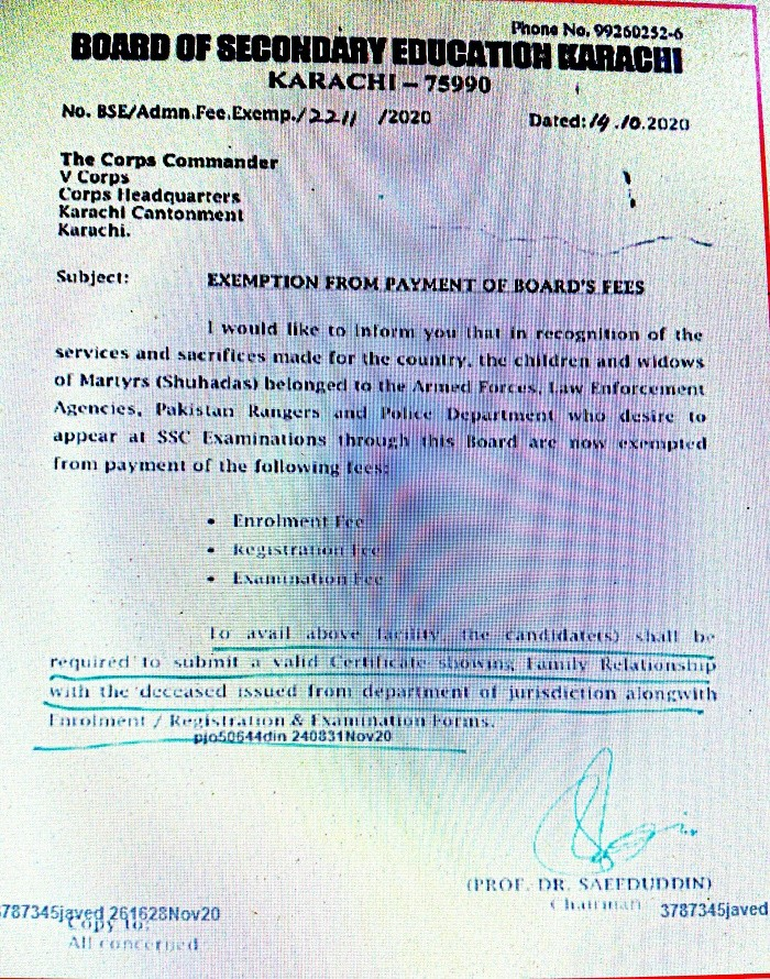 Exemption from Payment of Board Fees for Children and Widows of Martyrs
