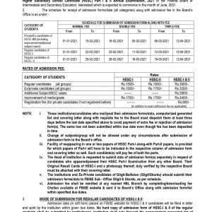 FBISE Islamabad Fee Notification and Schedule HSSC Annual Exams 2021